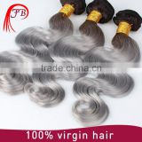 nice ombre hair body wave uzbekistan hair extension for woman black grey ombre body wave