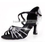 OL gorgeous diamond shoes with black satin crossed ankle strap luxurious ballroom dance shoes