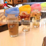 cylinder tableware/drinkware wholesale/recycled,wide moutu glass cups with lids