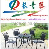 Patio furniture outdoor dining sets cast aluminum table and chairs in alu and PE/rattan wicker