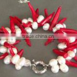 "wholesale 2 rows 7"" pearls & 9-10mm red capsicum shape natural coral stone bracelet"