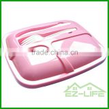 wholesable 3-compartment microwave pp bento lunch box, disposable safe plastic food container