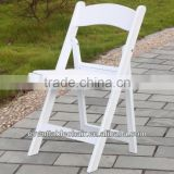 white resin folding chair with PVC white PAD