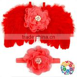 Solid Red Feather Wings Costume Cute Baby Girls Small Feather Angel Wings