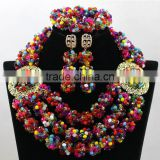 Clear Crystal Mixed Coral Beads Necklace Nigerian Weding Earrings African BraceletJewelry Sets