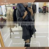 100% Real Fashion Pashmina Shawl Cape with fox fur collar cashmere shawl