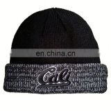 Navy stitching knitted custom acrylic beanie with logo embroidery