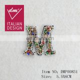 "Hot Sale beaded patches colorful rhinestone ""M ""applique"