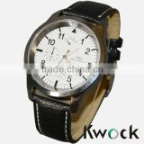 Kwock black pu leather strap watches men watch 2014 wholesale promotional mens gents watches