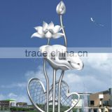 Modern Large Famous Arts Abstract Stainless steel Flower Sculpture for Outdoor decoration