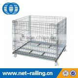 Industrial stackable welded mesh foldable metal pallet box