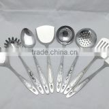 8 pcs Stainless Steel Kitchen Cooking Utensil set with rice spoon/ spaghetti/ spoon/ pancake turner/ ladle/ strain/fork/spatula