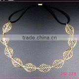 Fancy Lovely Young Women`s Gold Plated Leaves Shaped Elastic Fashion Headband