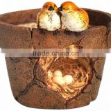 Top Collection Enchanted Story Garden Lover Birds and Nest Functional Flower Pot Outdoor Decor