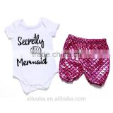 Newborn baby girls clothing sets knitting cotton bodysuit bloomer set girls mermaid clothing