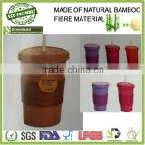 Bamboo fibre biodegradable and eco friendly mug,cup with straw