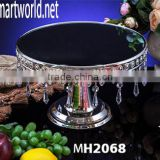 Royal wedding cake stand with acrylic crystal hanging beads;cake stand with dark blue mirror face for wedding decoration(MH2068)