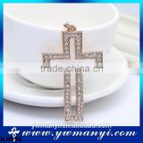 Gold Plated Full Crystal Cross Keychain bag key chain ring holder charm handbag Pendant Jewelry Christian Gifts K0098