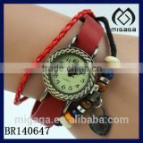 lucky amulet red leather strap braided leather beaded bracelet watch with heart charm