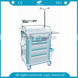 Best selling AG-ET005B1 CE ISO luxurious hospital ABS trolley mobile mobile emergency cart