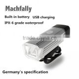 Machfally 2016 design Germany certification aluminium magnesium alloy rechargeable led bike light usb bike light
