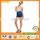 Wholesale Funky High Waist Skinny Mid Wash Blue Denim Shorts For Women Sexy Jeans Shorts