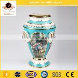 "OEM design antique luxury tiffany blue 23""ceramic porcelain art vase pot with gold for wedding decorations"