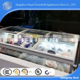 anti-fog tempered coffin glass lid island freezer