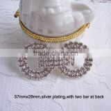 (M0704) 15mm inner bar rhinestone buckle for wedding invitation card,invitation box,two bar