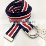 cotton canvas belt with D ring buckle