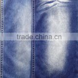 55%cotton 34%polyester 11%spandex indigo knitted stretch denim fabric with sirospun yarn