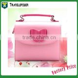 Color Leather Bowknot Camera Bag For Fujifilm Instax Camera, Free Shipping Instax Camera Case bag With Shoulder Strap(Pink)