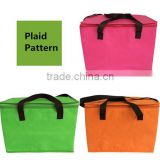 Non Woven Plaid Insulated Cooler Bag Custom Lunch Cooler Bags For Picnic