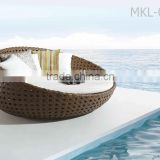 Modern resin wicker resort and hotel poolside sun lounger- Rattan Round Sunbed Outdoor Furniture