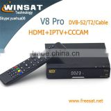 paypal accept V8 pro full HD satellite receiver DVB-S2+T2/C iptv set top box support Biss Key Youtube porn video