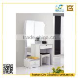 Fancy design wavy dressing table set white wooden dressing table with mirror and drawers for bedroom furniture