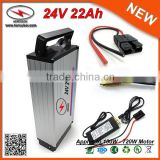 Hot Selling 500W E-bike 24V 22Ah Electric Bicycle Battery Pack with Aluminum Waterproof Case & 2A Charger