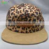 New stylish leopard pattern suede genuine leather patch custom made 5 panel camp cap hat