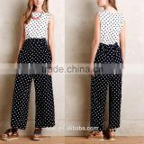 Uniform fashion wide legs black loose pokka dot pants