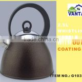 2.5L whistling water kettle with color design stainless steel tea kettle with black bakelite handle