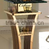2014 luxury night club bar table chromed in golden color/ bar tables and chairs usedF111G