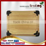 Nonslip Organic wooden silicone cutting board Silicone Bamboo Wood Fruit Kitchen Cutting Board