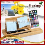 Bamboo Wood Cell Phone Stand for Smartphones, Desktop Storage Shelves Pen Holder, Glasses Storage Box, Stationery Box Finishing