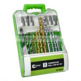 19pcs twist drill,wood working drill,masonry drill set in plastic case