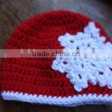 Wholesale baby christmas hats hand crochet knitting baby hats bright red trimmed in white