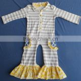 DYJ-130 Fancy baby ruffle rompers with yellow pocket design wholesale clothing baby boutique cotton jumpsuit