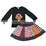 Yawoo black cotton top match turkey embroidery and skirts thanksgiving set childrens wholesale boutique clothing