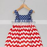 High quality blue red smocked dress sleeveless baby girl dress for July 4th girls wholesale boutique clothing dress