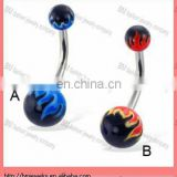 New arrive !!hot acrylic Belly button ring with flame balls with stainless steel bars body piercing jewelry ring