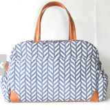 full printed weekender travle bag with leather for travel